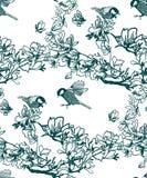 La planta del modelo del vector graba pájaros de la magnolia de la tinta libre illustration