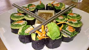 La planta sana basó el sushi vegetal Rolls Imagenes de archivo
