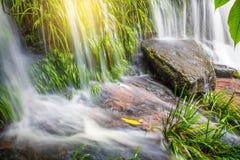La planta verde y la roca frescas en Mun Dang Waterfall medio llueven el mar Foto de archivo