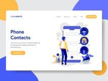 La plantilla de aterrizaje de la página del teléfono entra en contacto con concepto del ejemplo Concepto de diseño plano moderno  libre illustration