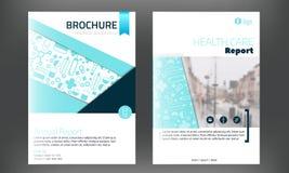 La plantilla de la cubierta médica del folleto en colorwith azul blured la foto en fondo Aviador con los iconos en línea de la me stock de ilustración