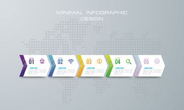 La plantilla de Infographic con 4 opciones, flujo de trabajo, la carta de proceso, el diseño del infographics de la cronología y  libre illustration