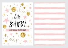 La plantilla de la invitación de la fiesta de bienvenida al bebé, backgtround con las estrellas rosadas diseña, vector al bebé de Foto de archivo