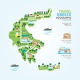 La plantilla de la forma del mapa de Grecia del viaje y de la señal de Infographic diseña stock de ilustración