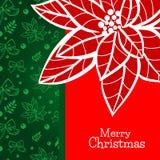 La plantilla de la tarjeta de felicitación de la Navidad y del Año Nuevo con la poinsetia dibujada mano florece Fotos de archivo libres de regalías