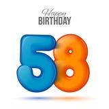 La plantilla de la tarjeta de felicitación del cumpleaños con cincuenta y ocho brillante formó el globo Fotografía de archivo libre de regalías