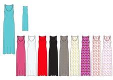 La plantilla de Maxi Dress femenino integral en sólido y el AOP diseñan Fotos de archivo libres de regalías
