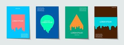 La plantilla de moda fijó con las formas de neón modernas futuristas para el cartel, cubierta, tarjeta, broshure, bandera Fotos de archivo