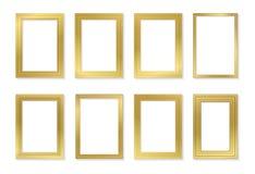 La plantilla de oro del marco fijó para las imágenes y las fotos Vector aislado Imágenes de archivo libres de regalías