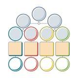 La plantilla del árbol de Infograhics con multiplica pasos de opciones, del círculo colorido y de elementos cuadrados stock de ilustración