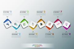 La plantilla del diseño de Infographic con cronología y 8 conectaron elementos cuadrados imagen de archivo libre de regalías
