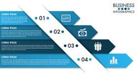 La plantilla del diseño de Infographics con los iconos del vector y del márketing del concepto de 4 opciones se puede utilizar pa ilustración del vector
