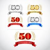 la 50.a plantilla del diseño de la celebración del aniversario de los años fijó en el fondo blanco Diseño aislado del ejemplo del ilustración del vector