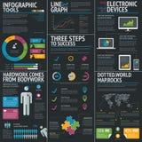 La plantilla del vector del negocio de Infographic fijó en fondo negro ilustración del vector