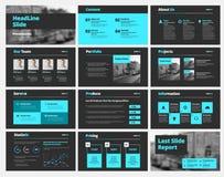 La plantilla del vector negro resbala para las presentaciones y los informes con los elementos azules stock de ilustración