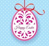 La plantilla del vector para el laser cortó la tarjeta de felicitación del huevo de Pascua, la etiqueta, la invitación o el eleme Imagen de archivo libre de regalías