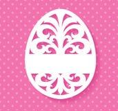 La plantilla del vector para el laser cortó la tarjeta de felicitación del huevo de Pascua, la etiqueta, la invitación o el eleme Fotos de archivo