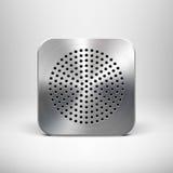 Plantilla del icono del App de la tecnología con textura del metal