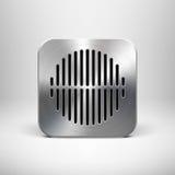 Plantilla del icono del App de la tecnología con textura del metal Fotos de archivo