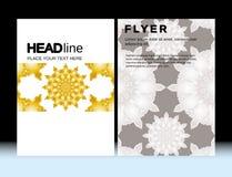 La plantilla geométrica marroquí abstracta del vector de la disposición de diseño del aviador del folleto de A4 tamaño, vertical, Fotografía de archivo