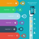 La plantilla gráfica de la información con la mano que sostiene los teléfonos para el plan de márketing, ventas traza el ejemplo, ilustración del vector