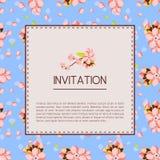 La plantilla hermosa de la tarjeta de la invitación o de felicitación con la almendra rosada florece Ejemplo del vector en un est Imágenes de archivo libres de regalías