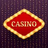 La plantilla retra de lujo de la bandera del casino con la bombilla que brilla intensamente en la guirnalda se enciende Fotografía de archivo