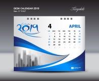 La plantilla 2019, semana de APRIL Desk Calendar comienza domingo, diseño de los efectos de escritorio, vector del diseño del avi Fotografía de archivo