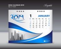 La plantilla 2019, semana del calendario de escritorio de enero comienza domingo, diseño de los efectos de escritorio, vector del libre illustration