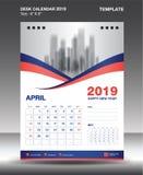La plantilla 2019, vector del calendario del Abril-escritorio del diseño del aviador, disposición anaranjada azul del concepto, p stock de ilustración