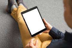 La plantilla y la maqueta para la tableta app diseñan, orientación vertical de la pantalla fotos de archivo
