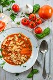 La plaque de la soupe à tomate a effectué à ââof les tomates fraîches Image libre de droits