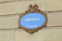 La plaque de rue de place d'Arriaga Image stock