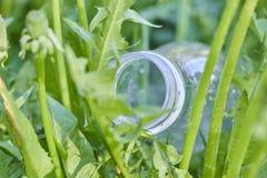 La plastica imbottiglia l'erba verde nell'inquinamento ambientale della foresta da plastica protezione di ecologia Giorno di prot fotografia stock libera da diritti