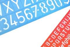 La plastica inglese delle lettere riproduce a ciclostile l'alfabeto Fotografie Stock