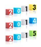 La plastica variopinta dell'anno numera su un fondo bianco Immagini Stock Libere da Diritti
