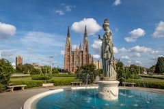La Plata Cathedral and Plaza Moreno Fountain - La Plata, Buenos Aires Province, Argentina royalty free stock photos