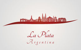 La Plata skyline in red Royalty Free Stock Photography