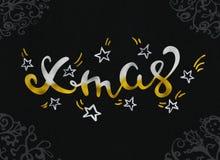La plata y el oro hermosos de la caligrafía de la tarjeta de felicitación de Navidad mandan un SMS a palabra Rastr Fotografía de archivo libre de regalías