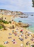 La Platgeta DE Calella, een klein strand van Calella DE Palafrugell spanje stock afbeeldingen