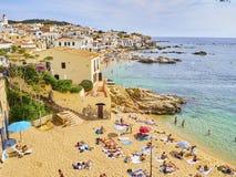 La Platgeta de Calella, una piccola spiaggia di Calella de Palafrugell spain fotografia stock libera da diritti