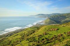 La playa amplia, las altas colinas verdes va abajo al océano Fotos de archivo
