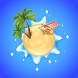 La playa con las palmas, la silla y el agua salpican vector Imagen de archivo