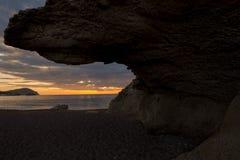 La playa de las esculturas en el amanecer en Almería Fotografía de archivo libre de regalías