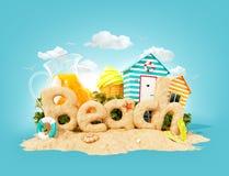 La playa de la palabra hecha de la arena en la isla tropical Ejemplo inusual 3d de las vacaciones de verano Concepto del viaje y  ilustración del vector