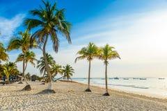 La playa de Paradise tambi?n llam? Playa Paraiso en la salida del sol - costa del Caribe hermosa y tropical de Tulum en Quintana  imagen de archivo