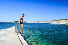 La playa de Vodice, Croacia fotos de archivo