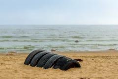 La playa del mar Báltico en Repino cerca de St Petersburg Imágenes de archivo libres de regalías