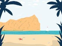 La playa del verano inspiró escena Ilustración del vector Fotografía de archivo