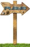 La playa direccional firma adentro lengua española Imagen de archivo
